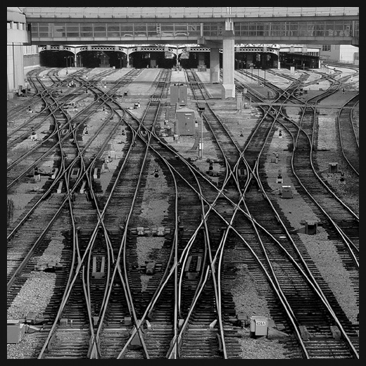 "photo ""The steel labyrinths 500 m ahead"" tags: black&white, architecture, landscape,"