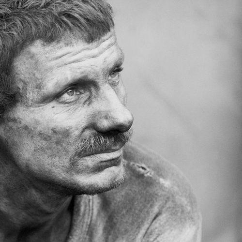 "photo ""hesitant future"" tags: portrait, black&white, man"