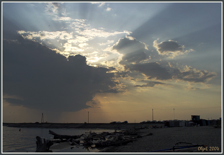 "photo ""The rain is on horizon"" tags: landscape, clouds, sunset"