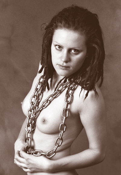 "photo ""A woman breaking the chains"" tags: nude,"