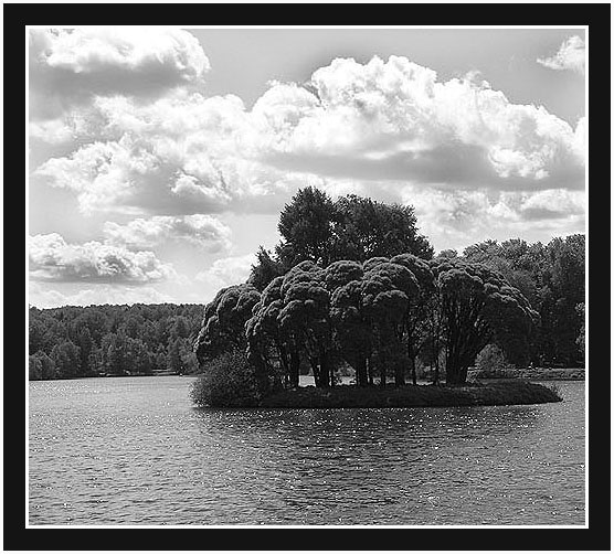 "photo ""Mysterious island"" tags: black&white, landscape, summer"