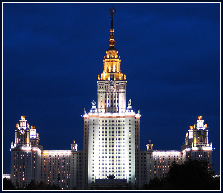 "photo ""Moscow State University"" tags: architecture, landscape, night"