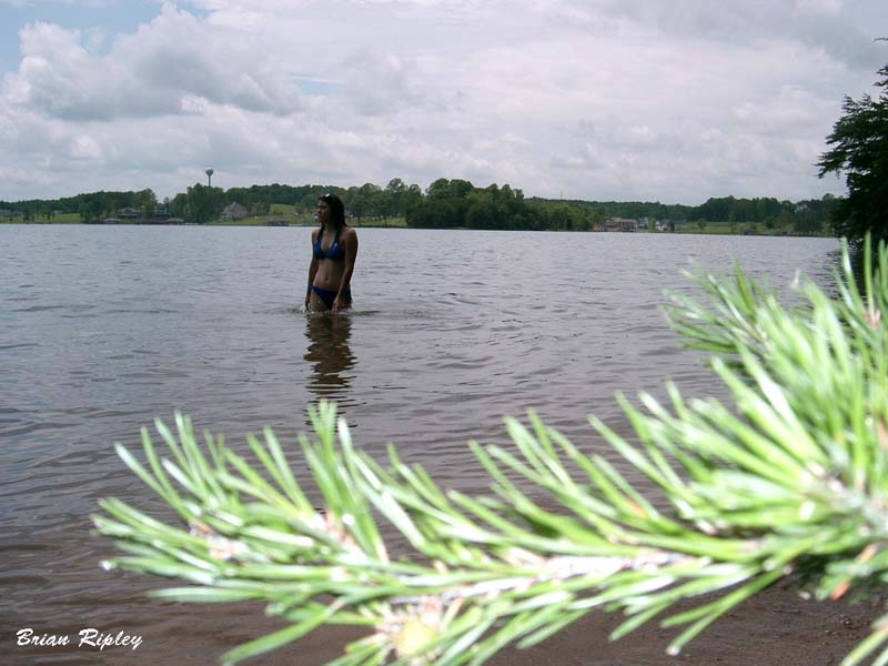 "photo ""Girlfriend at lake"" tags: landscape, water"