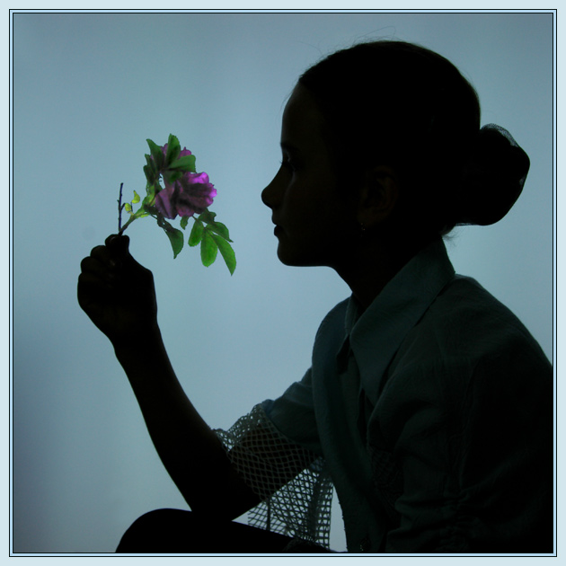 "photo ""The Girl and the Flower"" tags: portrait, montage, children"