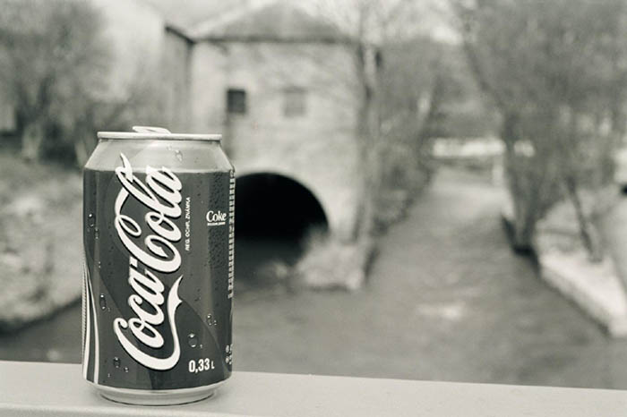 "photo ""Coca Cola in B&W"" tags: architecture, landscape,"