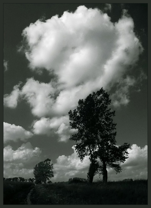 "photo ""..."" tags: black&white, landscape, clouds"