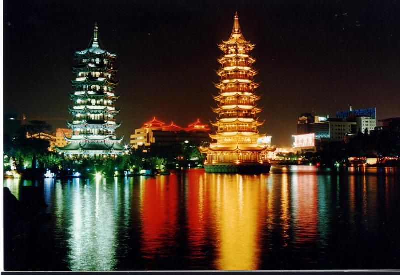 "фото ""The beatiful night of GUILIN (the two tower)"" метки: пейзаж, путешествия, Азия, ночь"