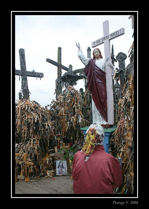"""photo """"The Hill of Crosses is a Lithuanian Golgohta"""" tags: reporting, montage,"""