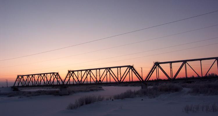 "фото ""Стальная магистраль..."" метки: пейзаж, закат, зима"