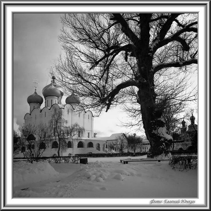 """фото """"Новодевичий монастырь. Смоленский собор"""" метки: архитектура, черно-белые, пейзаж,"""