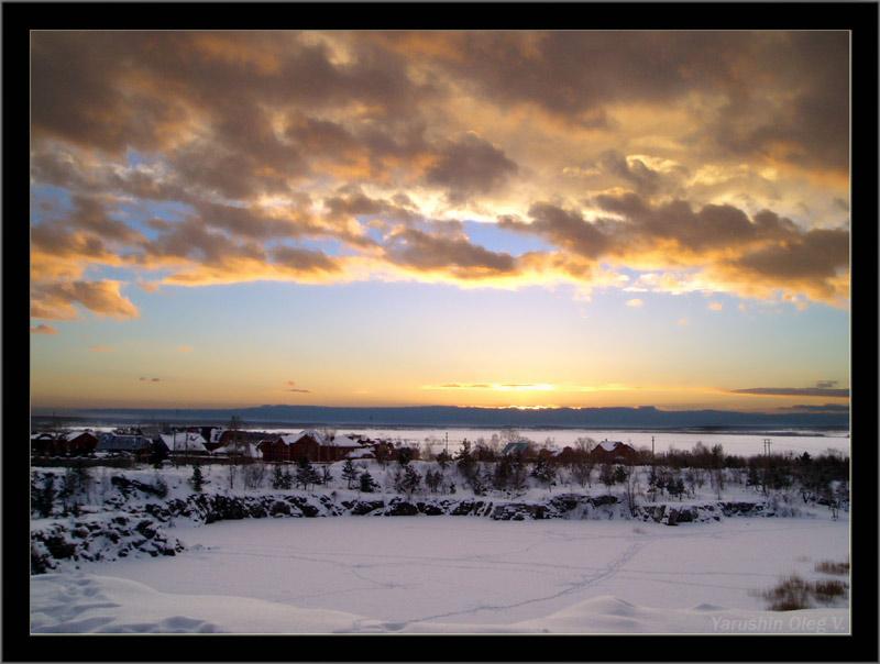 """фото """"зимний вечер"""" метки: пейзаж, закат, зима"""