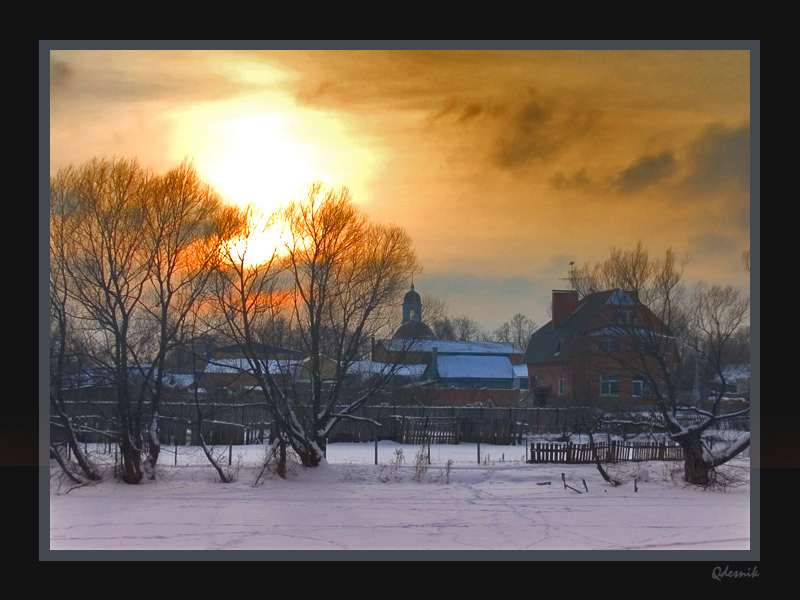 """фото """"Тяжелое солнце"""" метки: пейзаж, закат, зима"""