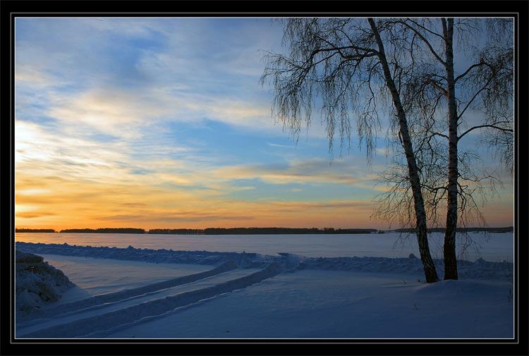 "фото ""Calm Winter Evening"" метки: пейзаж, закат, зима"