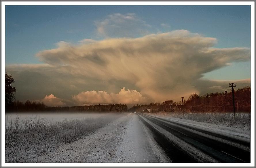 "фото ""расвет в пути..."" метки: пейзаж, зима"