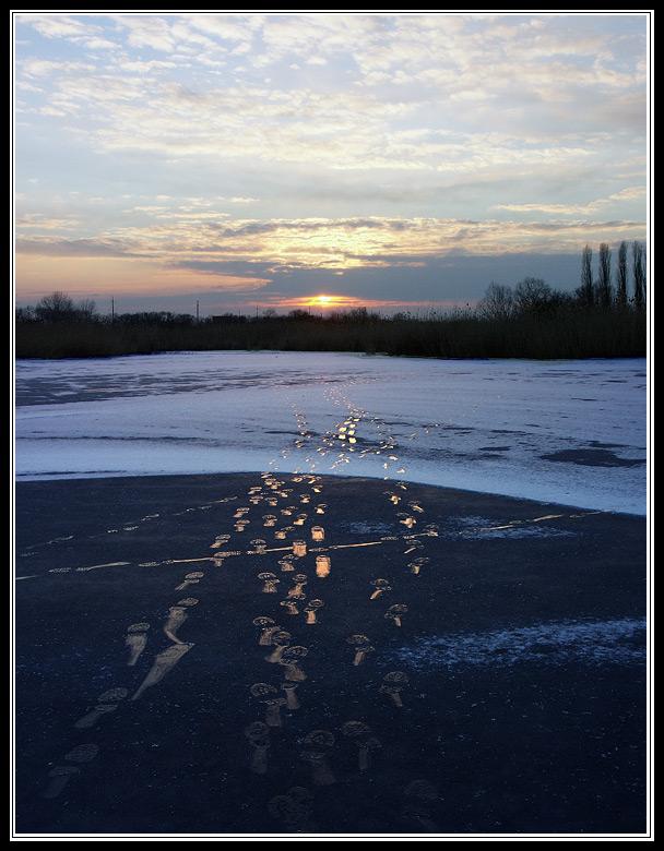 """фото """"Правильная дорожка"""" метки: пейзаж, закат, зима"""