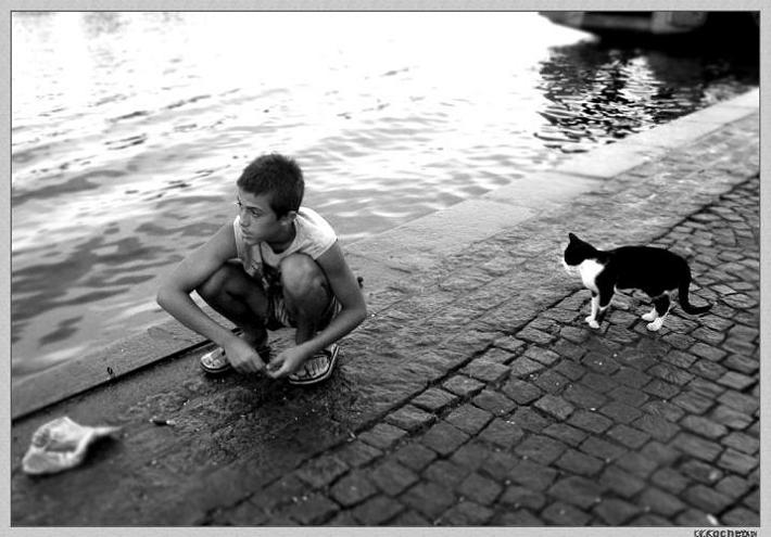 "фото ""Waiting(Expectation of a fish)"" метки: жанр, черно-белые,"