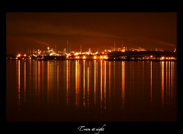 "photo ""Town at night"" tags: architecture, landscape,"