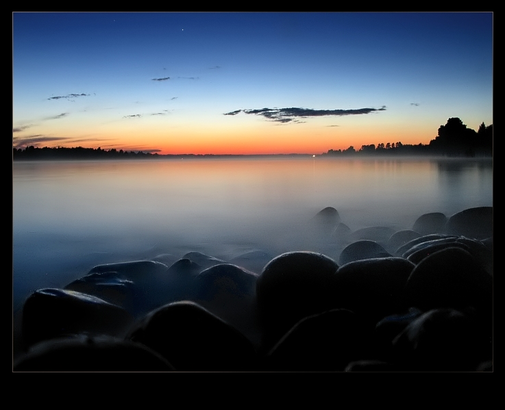 "photo ""Stones in water..."" tags: landscape, sunset, water"