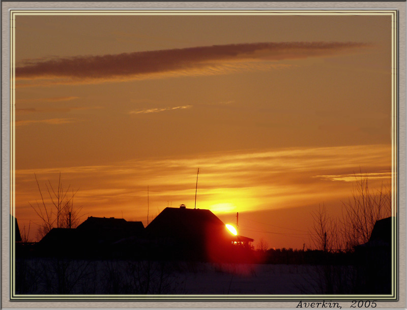 "photo ""Against the sun"" tags: landscape, sunset, winter"