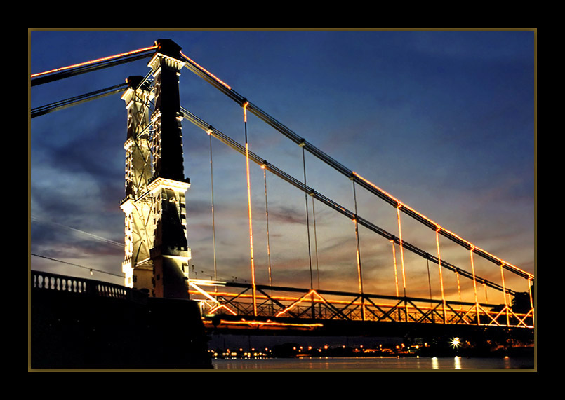 "photo ""Suspension-Bridge #3"" tags: architecture, landscape, sunset"