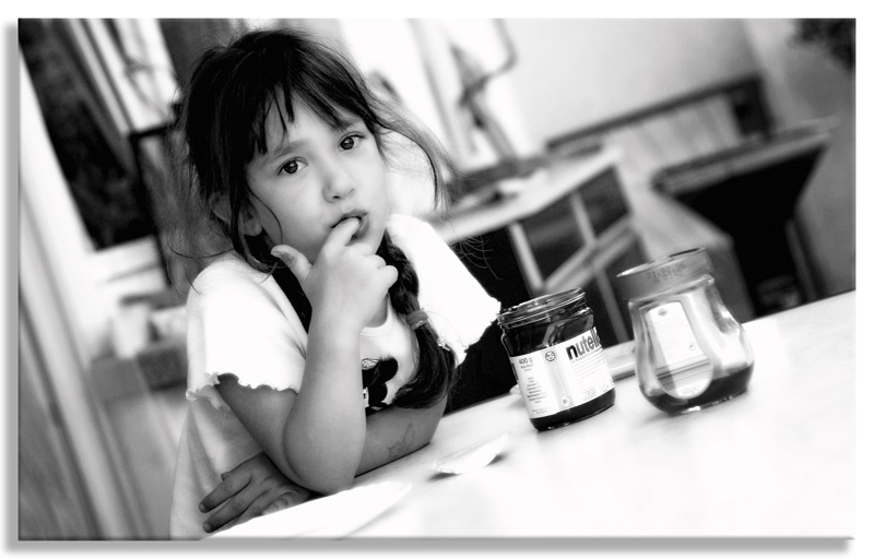"photo ""Nutella"" tags: black&white, portrait, children"