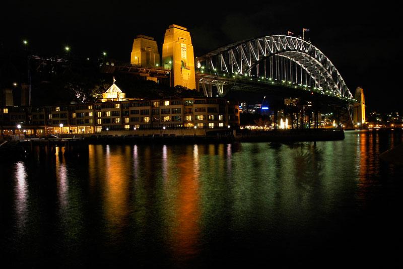 """photo """"The Sydney Harbour Bridge"""" tags: architecture, landscape, night"""