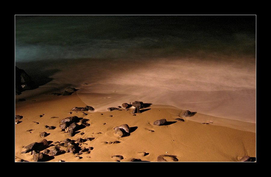"photo ""Stones creeping in the sea."" tags: landscape, travel, Europe, night"