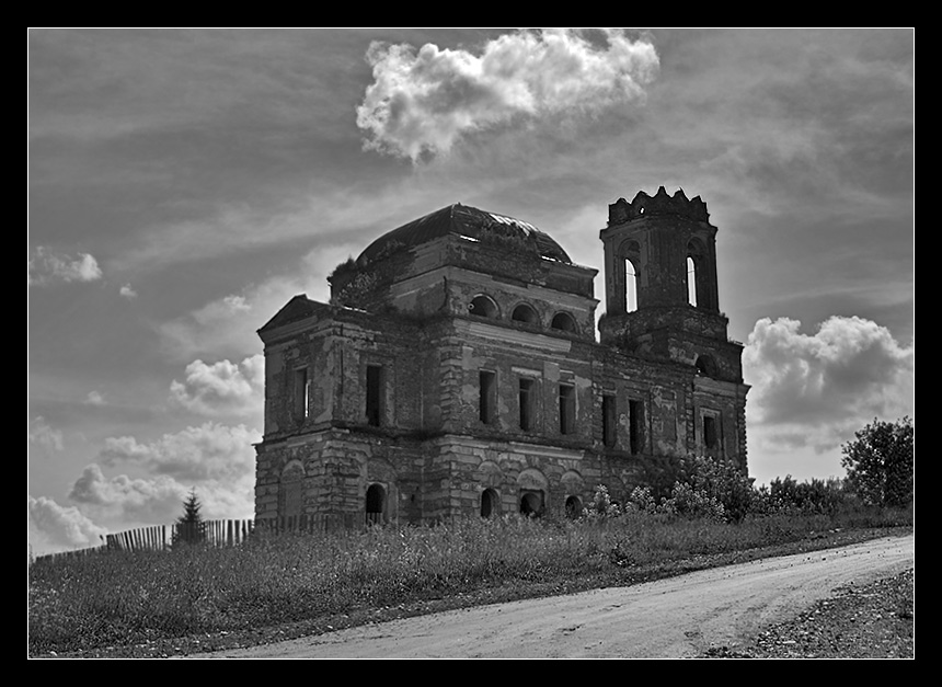"photo ""bitter heritage"" tags: black&white, landscape, clouds"