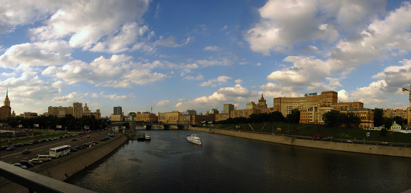 """photo """"Moscow River"""" tags: architecture, montage, landscape,"""