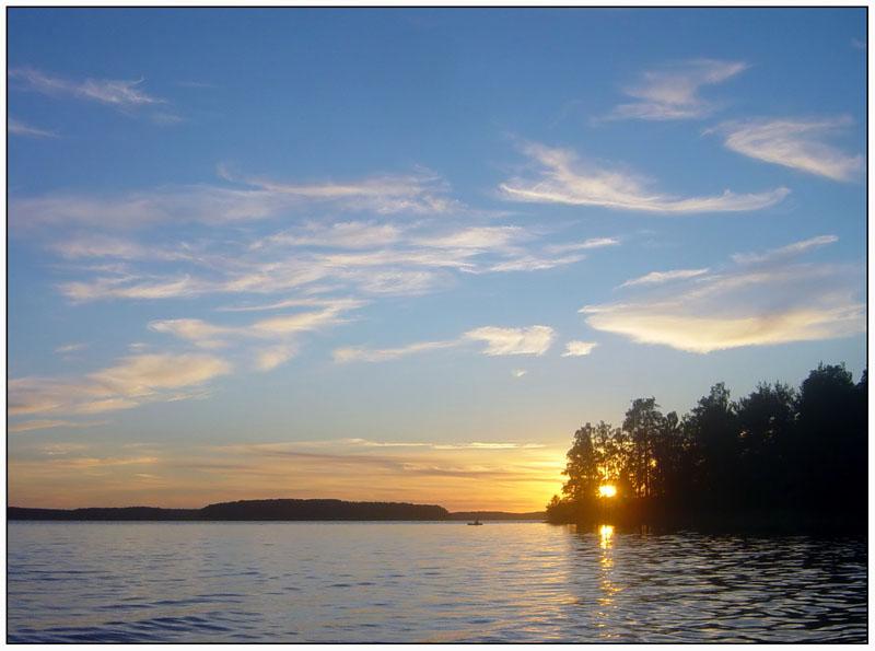 "фото ""Про солнце лес и рыбака ..."" метки: пейзаж, закат, облака"
