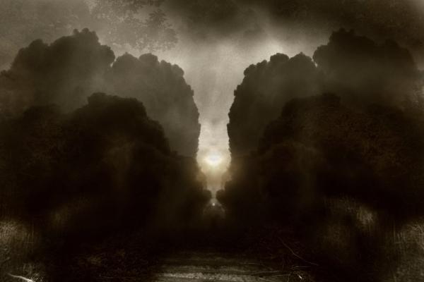 "photo ""road to glory"" tags: landscape, black&white, sunset"