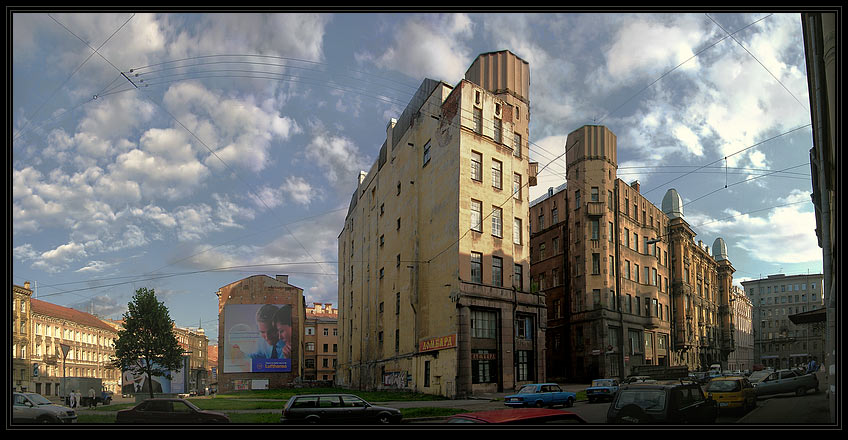 "photo ""Part of  the ""New Petersburg"". Kazachi per. b.2-4"" tags: architecture, landscape, clouds"