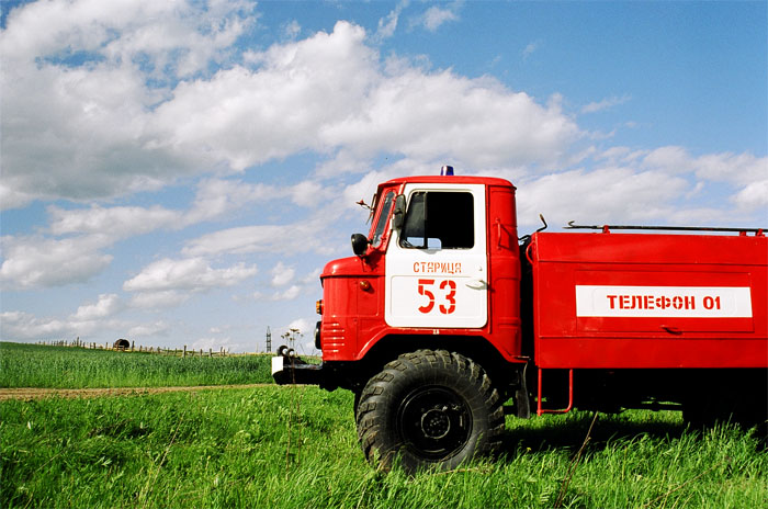 "photo ""Red fire-engine"" tags: genre,"