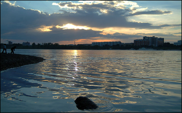 """photo """"Town sunset #2"""" tags: landscape, sunset, water"""