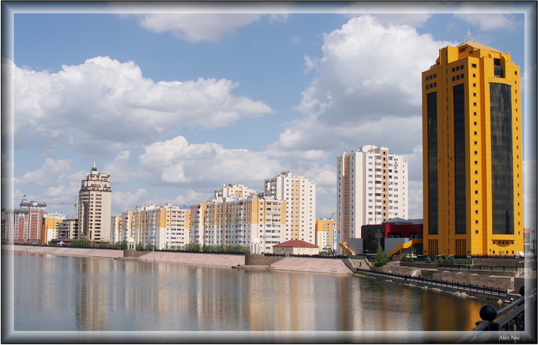 "photo ""New buildings on a right bank"" tags: architecture, landscape,"