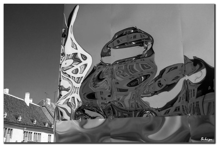 "photo ""Reflections of Tallinn"" tags: black&white, architecture, landscape,"