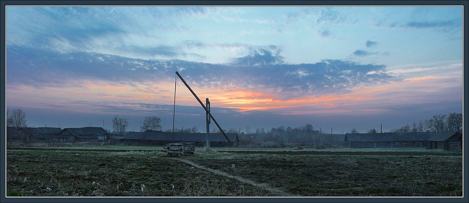 "photo ""Rural evening panorama with a well"" tags: landscape, spring, sunset"