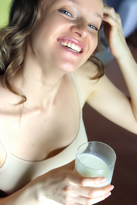 "photo ""Drink milk -  be healthy"" tags: portrait, woman"
