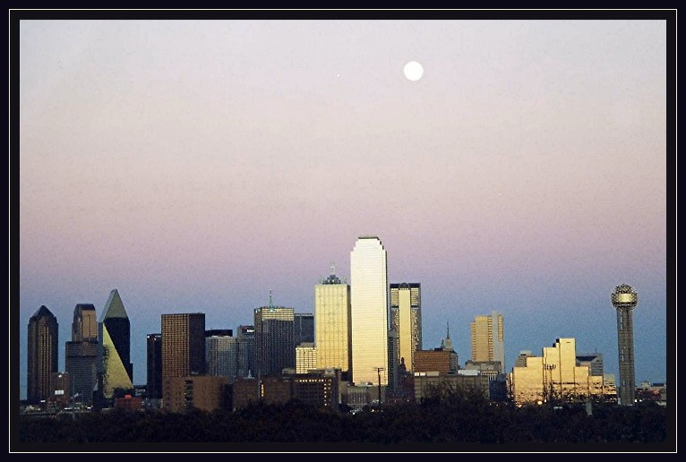 "photo ""Dallas Texas at sunset"" tags: misc., architecture, landscape,"