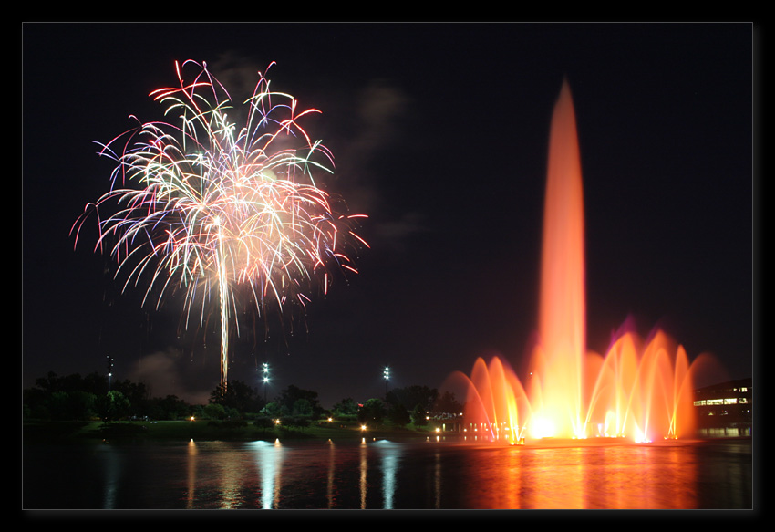 "photo ""The firework"" tags: landscape, night, water"