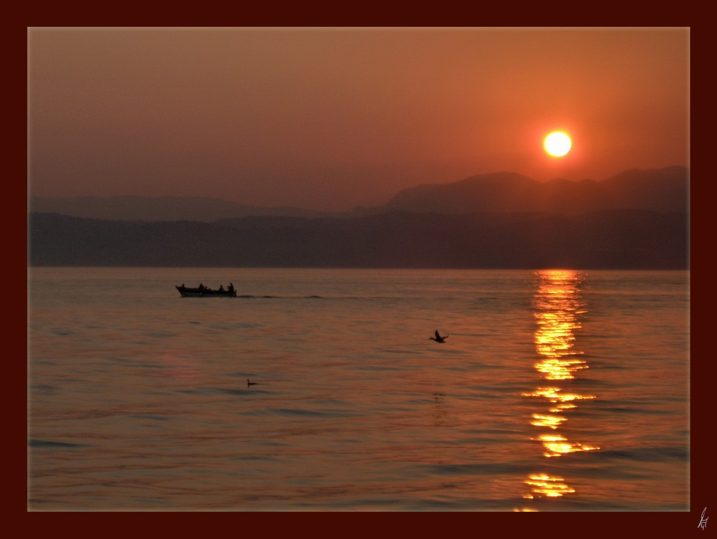 "photo ""early night at sirmione"" tags: landscape, sunset"