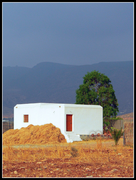 "photo ""Agricultural warehouse"" tags: architecture, landscape, mountains"