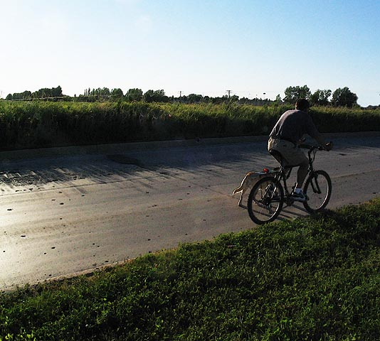 "photo ""Cyclist with His Dog"" tags: portrait, man"