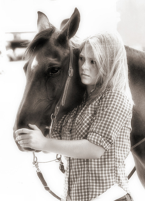 "photo ""A Girl and her Horse"" tags: portrait, black&white,"