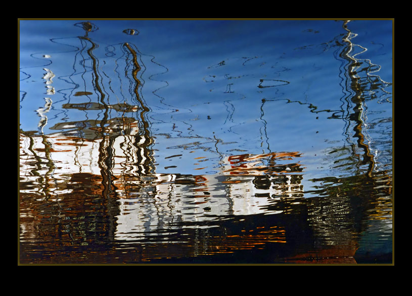 "photo ""Reflected Boat"" tags: abstract, landscape, water"