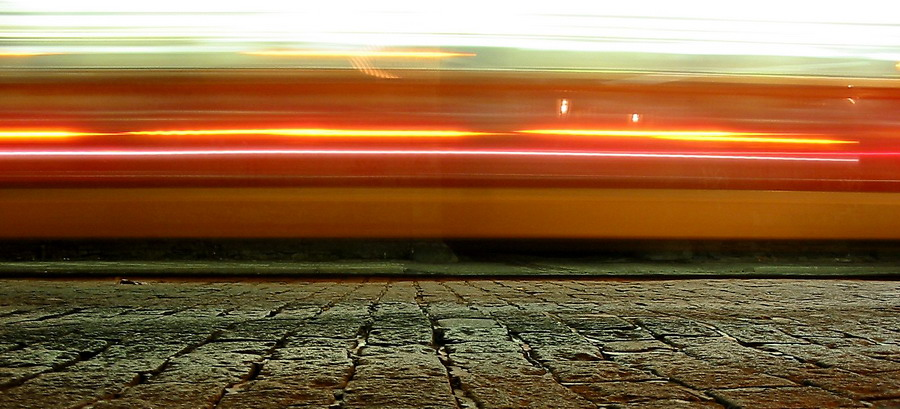 "photo ""Fast tram in Prague"" tags: abstract, travel, Europe"