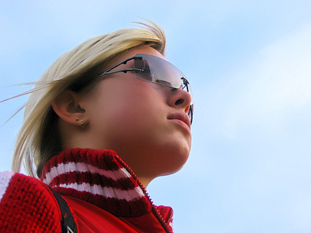 "photo ""Thoughts about sky.."" tags: misc., portrait, woman"