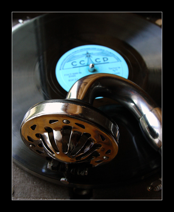 """photo """"Old small portable phonograph..."""" tags: old-time, macro and close-up,"""