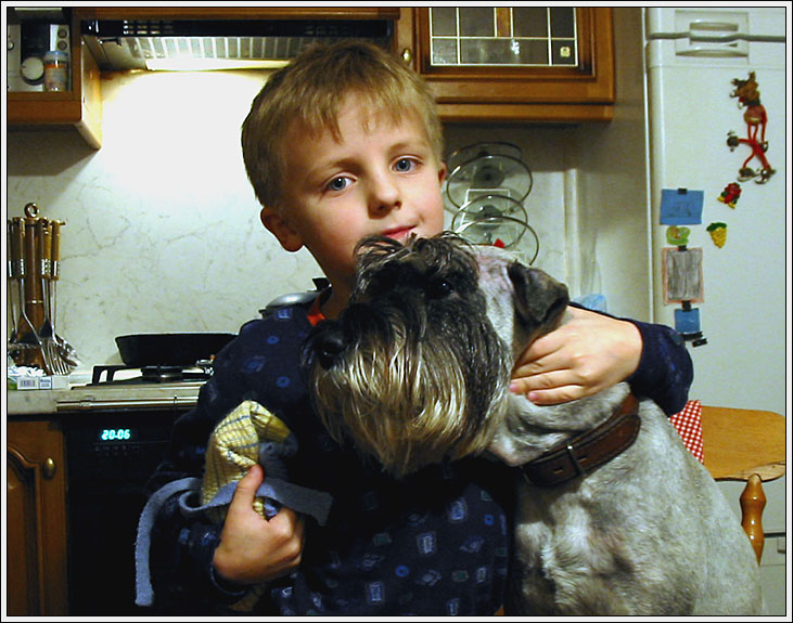 "photo ""Boy's portrait with dog in a kitchen"" tags: portrait, children"
