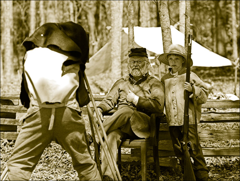 """photo """"Old soldier, boy and daguerreotyper"""" tags: black&white, old-time,"""